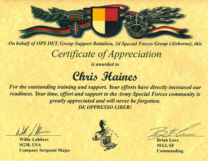 Chris Haines OffRoad Specialist About Us – Army Certificate of Appreciation